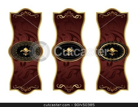 set gold decorative frames stock vector clipart, Illustration set gold decorative frames - vector by -=Mad Dog=-