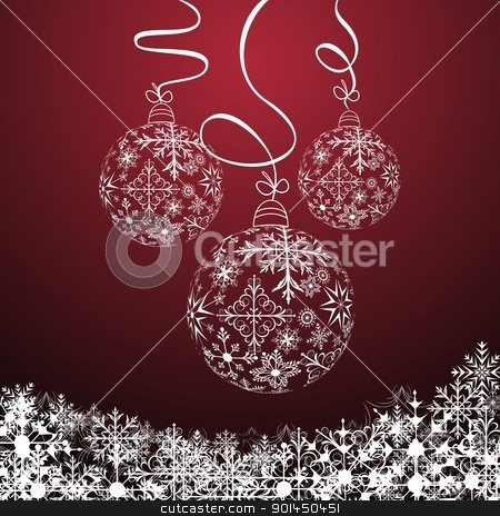 Christmas composition stock vector clipart, Illustration cute christmas composition with balls - vector by -=Mad Dog=-