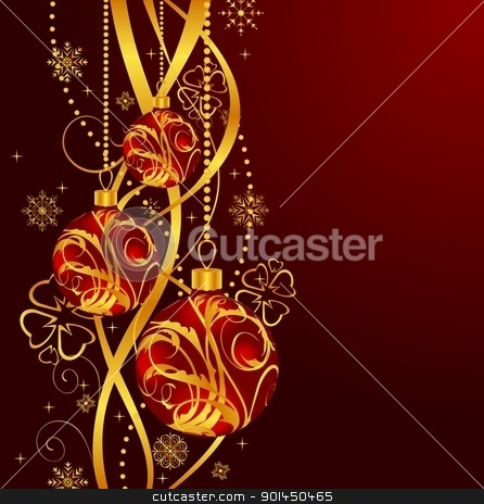 Christmas background with set balls stock vector clipart, Illustration Christmas background with set balls - vector by -=Mad Dog=-