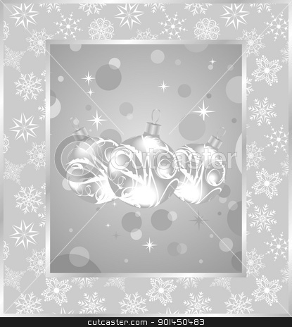 set Christmas balls on snowflakes background stock vector clipart, Illustration set Christmas balls on snowflakes background - vector by -=Mad Dog=-