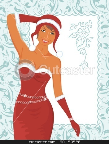 christmas girl with invitation stock vector clipart, Illustration christmas girl with invitation - vector by -=Mad Dog=-