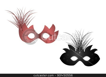 Realistic illustration of carnival masks stock vector clipart, Realistic illustration of carnival masks - vector by -=Mad Dog=-