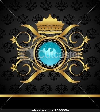 floral frame with heraldic eagle stock vector clipart, Illustration floral frame with heraldic eagle - vector by -=Mad Dog=-