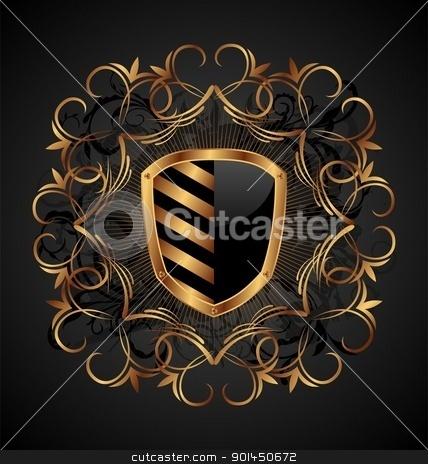 ornate heraldic shield stock vector clipart, Illustration ornate heraldic shield - vector by -=Mad Dog=-