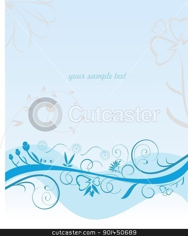 Blue flower pattern stock vector clipart, Blue flower pattern - vector by -=Mad Dog=-