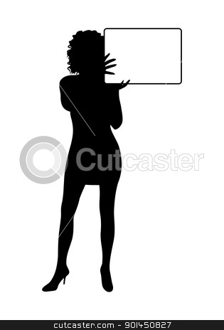 girl silhouette with banner isolated stock vector clipart, Illustration girl silhouette with banner isolated - vector by -=Mad Dog=-