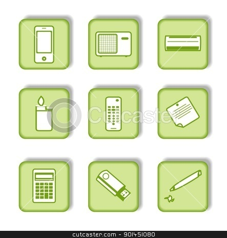 Green sticker with icon 9 stock vector clipart, Green sticker with icon 9. Vector by -=Mad Dog=-