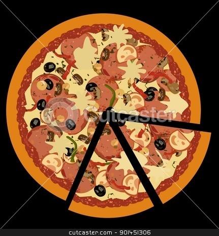 Realistic illustration pizza on black  background stock vector clipart, Realistic illustration pizza on black  background - vector by -=Mad Dog=-