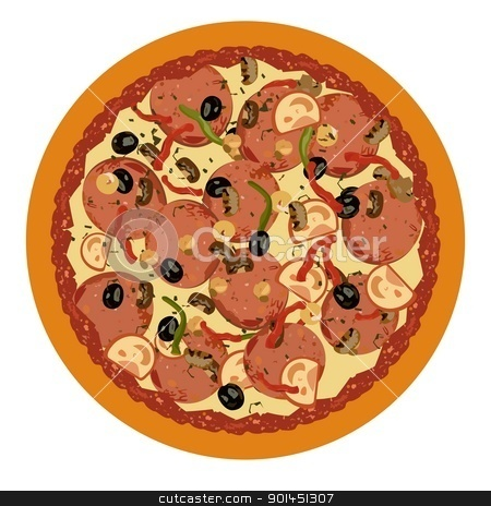 Realistic illustration pizza on white background stock vector clipart, Realistic illustration pizza on white background - vector by -=Mad Dog=-