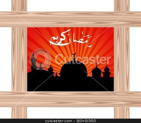 ramazan celebration background with wooden frame stock vector clipart, Illustration ramazan celebration background with wooden frame - vector by -=Mad Dog=-