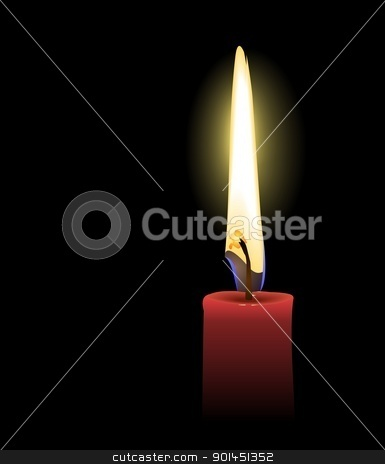 Realistic illustration the red candle stock vector clipart, Realistic illustration the red candle isolated of black background - vector by -=Mad Dog=-
