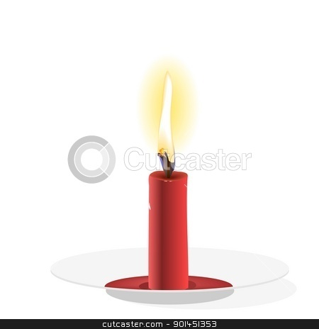 Realistic  Candle on plate stock vector clipart, Realistic Vector  Candle on plate by -=Mad Dog=-