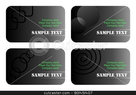 Business cards templates set stock vector clipart, Business cards templates set of four with label. Vector by -=Mad Dog=-