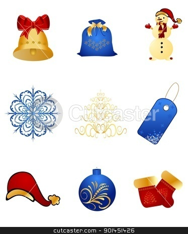 Set New Year's, christmas symbols and elements stock vector clipart, Illustration set New Year's, christmas symbols and elements - vector by -=Mad Dog=-