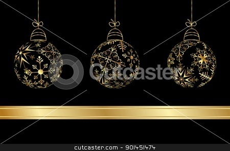 set Christmas balls made from golden snowflakes stock vector clipart, Illustration set Christmas balls made from golden snowflakes - vector by -=Mad Dog=-
