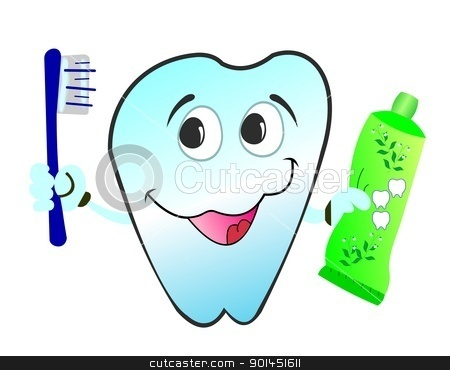 Illustration of happy smiling tooth is isolated on white backgro stock vector clipart, Vector illustration of happy smiling tooth is isolated on white background by -=Mad Dog=-