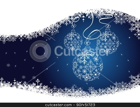 christmas background with balls stock vector clipart, Illustration christmas background with balls made of snowflakes - vector by -=Mad Dog=-