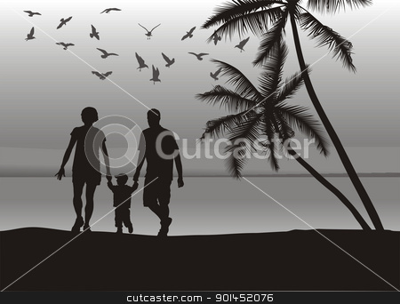 Family on the beach stock vector clipart, Father and mother holding son's hand on the beach by Čerešňák
