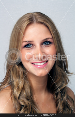 Beautiful Young Blonde, Headshot (2) stock photo, A studio close-up of a lovely young blonde with a warm, friendly smile. by Carl Stewart