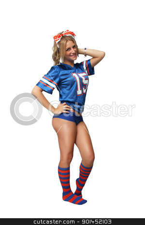 Sexy Blonde Football Fan (1) stock photo, A full-length shot of a sexy young blonde wearing booty shorts and a football jersey with matching socks.  Isolated on a white background with generous copyspace. by Carl Stewart