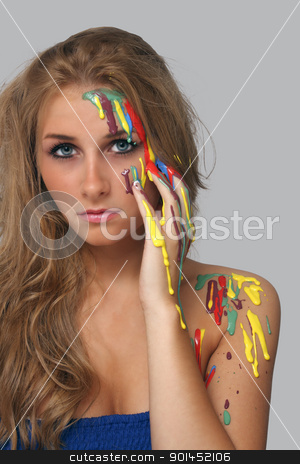 Beautiful Young Blonde, Headshot (4) stock photo, A studio close-up of a lovely young blonde with several colors of pain poured and dripping on her. by Carl Stewart