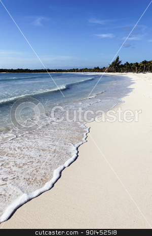 mexican beach stock photo, mexican beach with wave on the sand by vwalakte