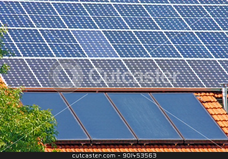 Solar panels stock photo, Solar panels on the roof of the house by Borislav Marinic