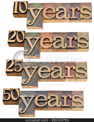 anniversary - 10, 20 ,25, 50 years stock photo, anniversary concept - 10, 20 ,25, 50 years - isolated text in vintage wood letterpress printing blocks stained by color inks by Marek Uliasz