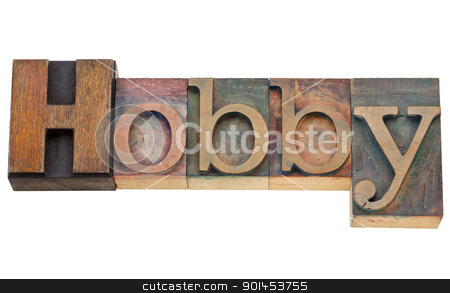 hobby word in letterpress stock photo, hobby - isolated text in vintage wood letterpress printing blocks stained by color inks by Marek Uliasz