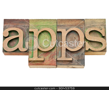 apps - software for mobile devices stock photo, apps - application software for mobile devices   - isolated text in vintage wood letterpress type, stained by color inks by Marek Uliasz