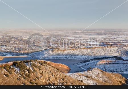 Colorado Front Range and plains stock photo, Colorado Front Range, Fort Collins  and plains in winter scenery as seen from Horsetooth Mountain Park by Marek Uliasz
