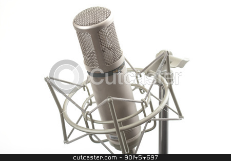 Studio microphone on stand  stock photo, Studio microphone on stand with shock mount by Gunter Nezhoda