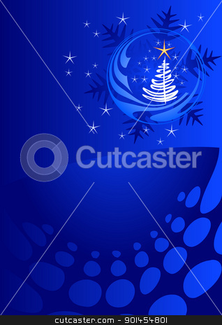 Blue Christmas template stock vector clipart, Christmas template, blue background with stars by Jupe