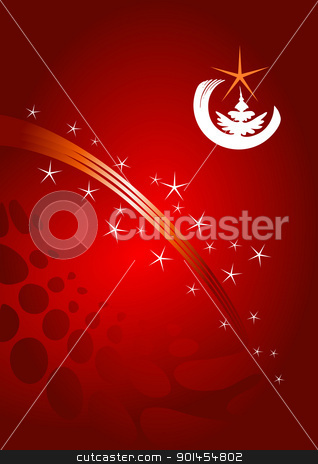 Red Christmas template stock vector clipart, Christmas template, red background with stars by Jupe