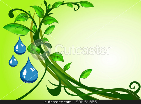 Green leaves with drops of water stock vector clipart, Green leaves with drops of water, illustration by Jupe