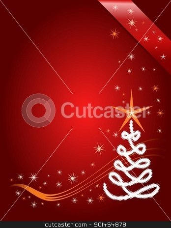 Red Christmas template stock vector clipart, Red Christmas template, red background with stars by Jupe