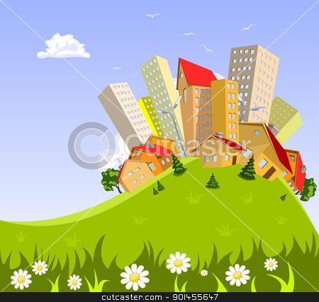 abstract vector city - summer stock vector clipart, Colorful abstract vector city . Vector art by Jupe