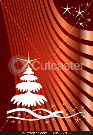 Red Christmas template stock vector clipart, Christmas template, line background with stars by Jupe