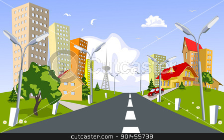 Vector city - summer stock vector clipart, Colorful abstract vector city. Vector art by Jupe