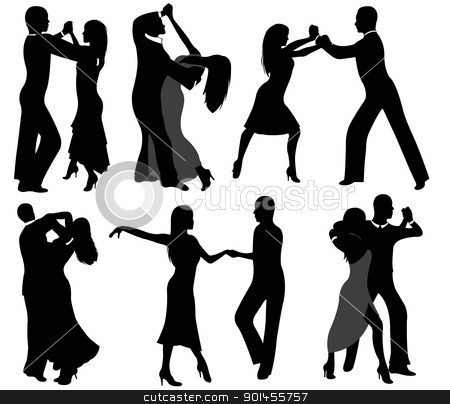 Dancer silhouettes stock vector clipart, Dancer silhouettes isolated on white by Ioana Martalogu