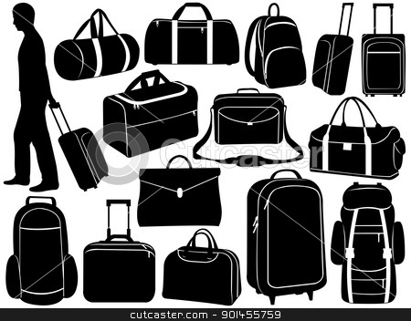 Different bags set stock vector clipart, Different bags set isolated on white by Ioana Martalogu