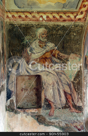 Fresco paintings in the old church stock photo, Fresco paintings in the old church by Zvonimir Atletic