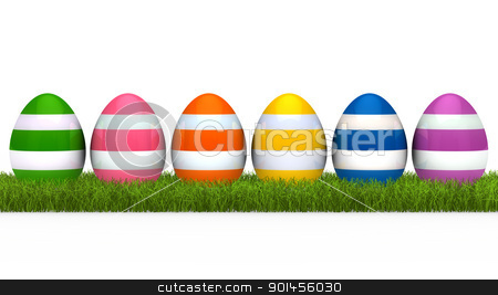 colorful eggs grass stock photo, colorful eggs with stripe on green grass by d3images