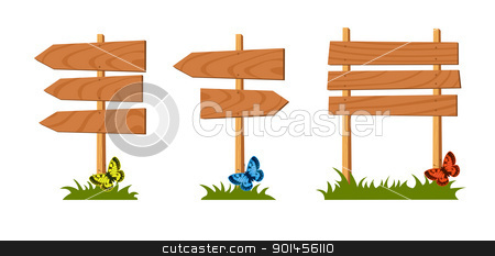 Set of wooden sign vector stock vector clipart, Set of wooden sign, vector illustration by Jupe