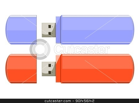 Usb flash memory stock vector clipart, Usb flash memory isolated on the white background by Jupe