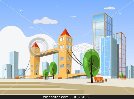 Abstract vector city - summer stock vector clipart, Colorful abstract vector city. Vector art by Jupe