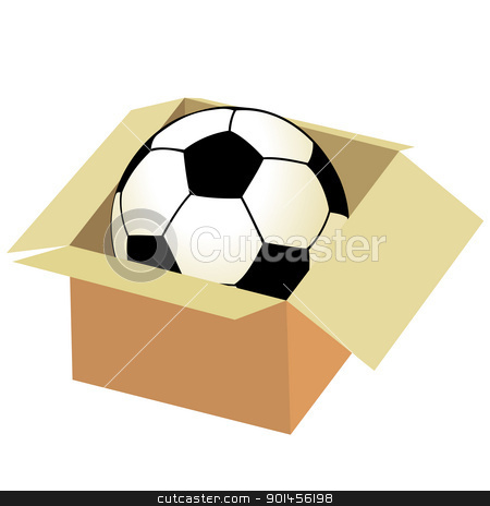Soccer ball in the box stock vector clipart, Soccer ball in the box by Jupe