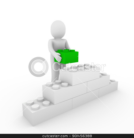 3d human green cube stone stock photo, 3d human green stone cube wall puzzle business by d3images
