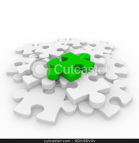 3d puzzle green white stock photo, 3d puzzle green white success connection piece business by d3images