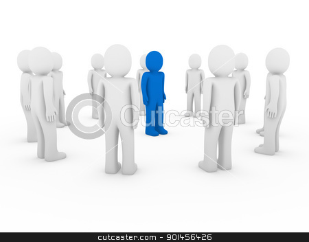 3d human circle blue white stock photo, 3d, human, circle, blue, white, teamwork, business, group by d3images